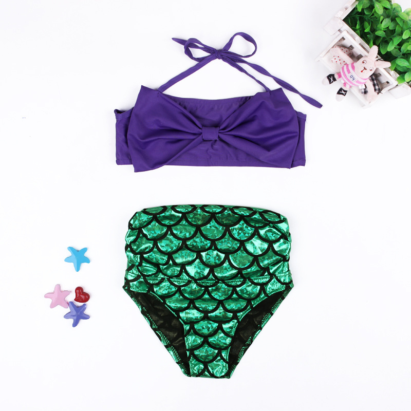 Купить со скидкой Unique Mermaid Swimming Top and Bottom Set for Girl