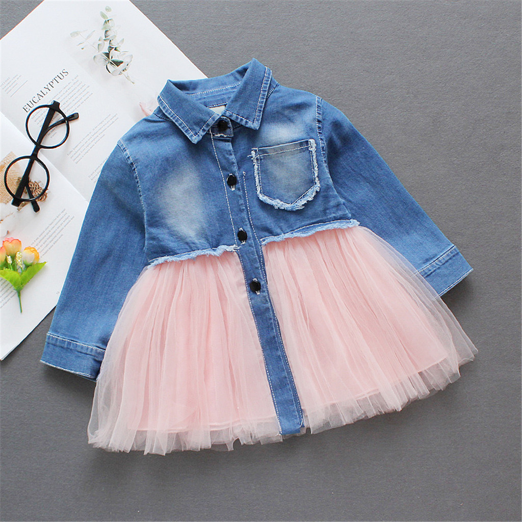 Купить со скидкой Pretty Lapel Collar Frayed Denim and Mesh Splice Dress