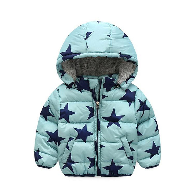 Купить со скидкой Fashionable Hooded Star Print Quilted Coat for Toddler and Kid
