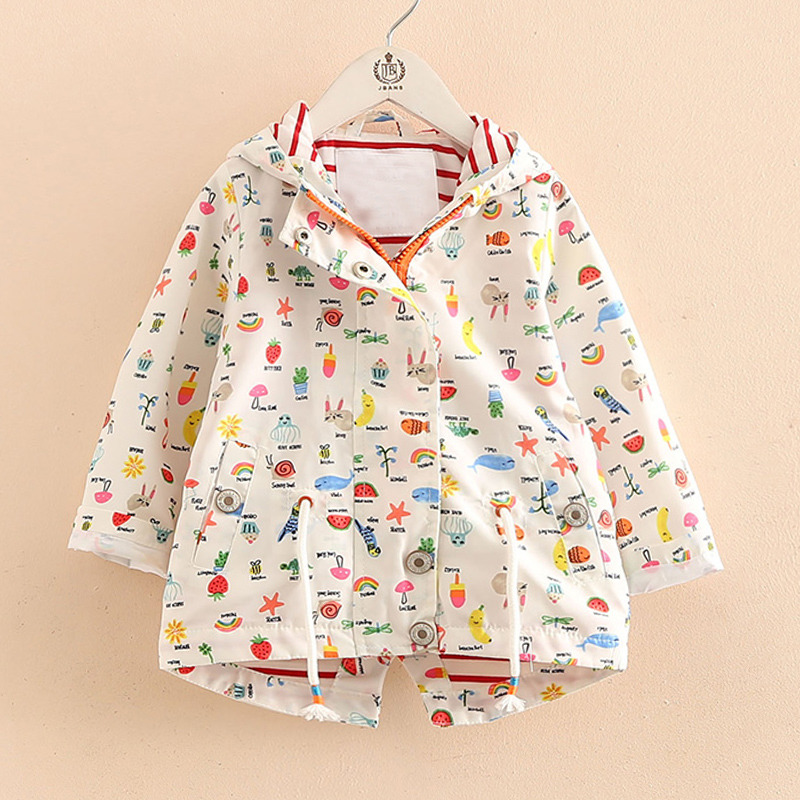 Купить со скидкой Lovely Cartoon Pattern Hooded Jacket for Toddler Girl and Girl