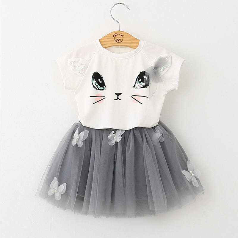 Купить со скидкой Lovely Cat T-shirt and Appliqued Butterfly Tulle Skirt Set for Baby and Toddler Girl