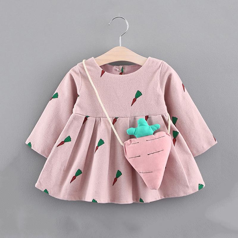 Fofos de Cenoura Padronizada de manga Longa Vestido com Bolsa para Bebê Menina