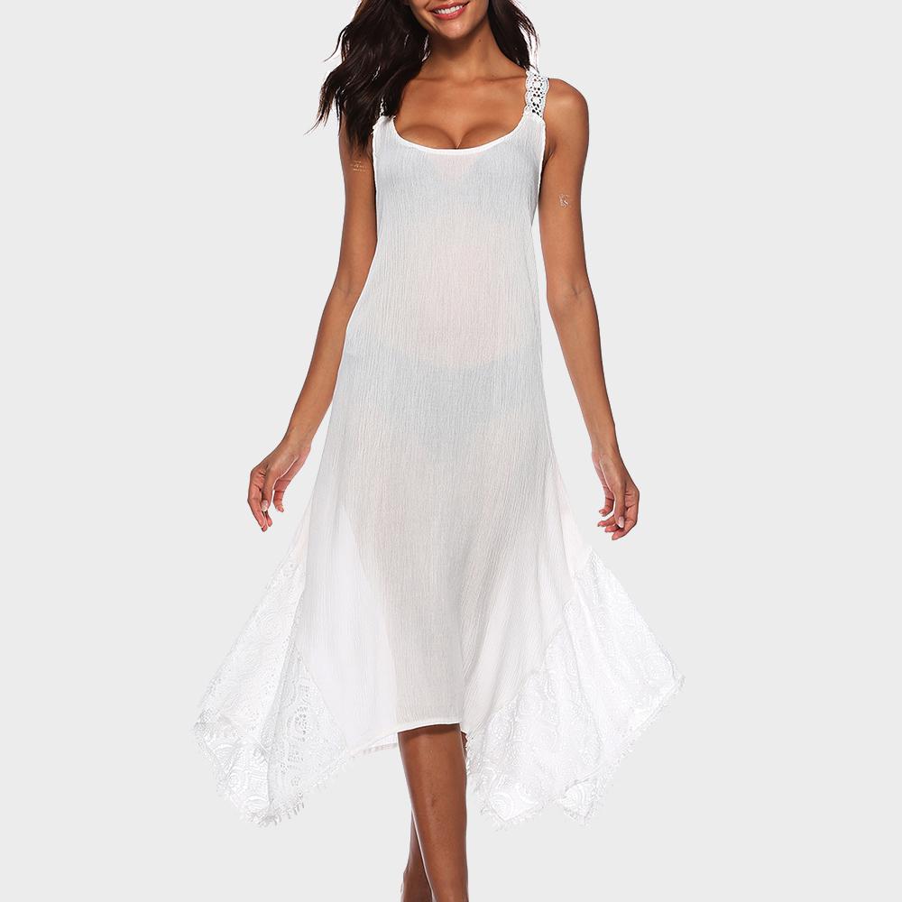 Solid Lace Hem Splice Casual Dress