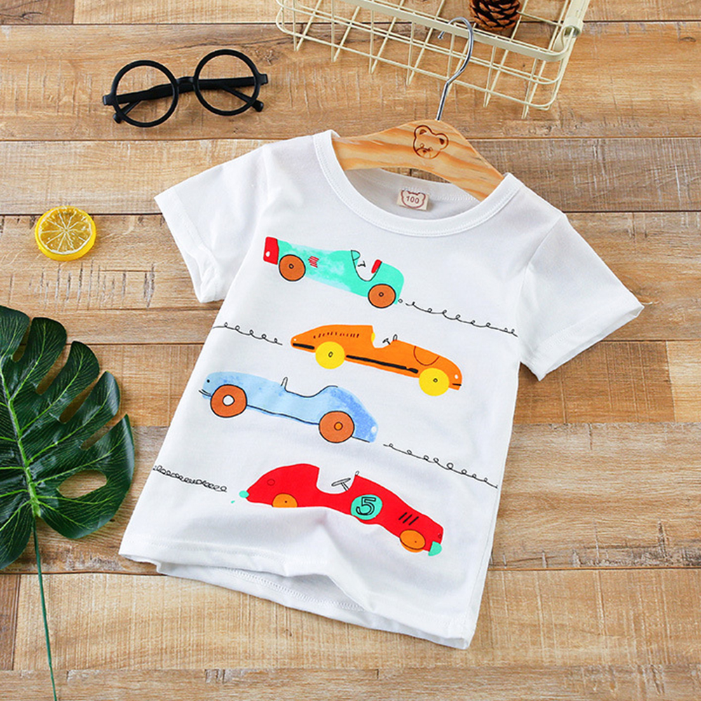 Купить со скидкой Fun Racing Car Print Short Sleeves Tee for Boys