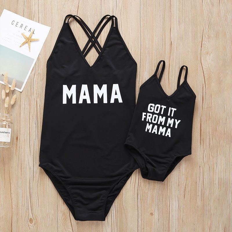 Купить со скидкой Solid Letter Print Swimsuit for Mommy and Me