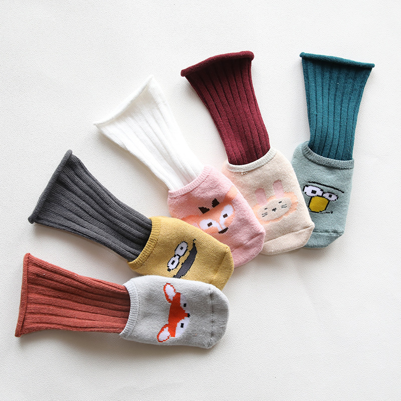 2-piece Baby / Toddler Casual Solid Knitted Cotton Stockings and Cartoon Animal Socks Set