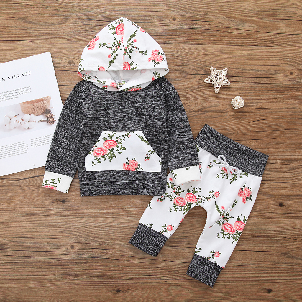 Купить со скидкой Baby Girl's Lovely 2-piece Long Sleeve Hooded Top and Floral Leggings Set in Grey