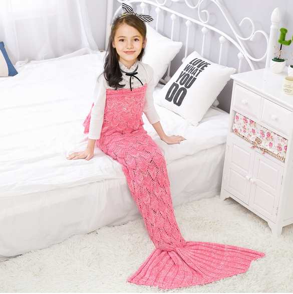 Купить со скидкой Comfy Solid Knit Mermaid Tail Shape Blanket for Baby