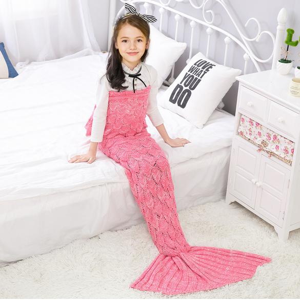 Купить со скидкой Comfy Solid Knit Mermaid Tail Shape Blanket for Baby