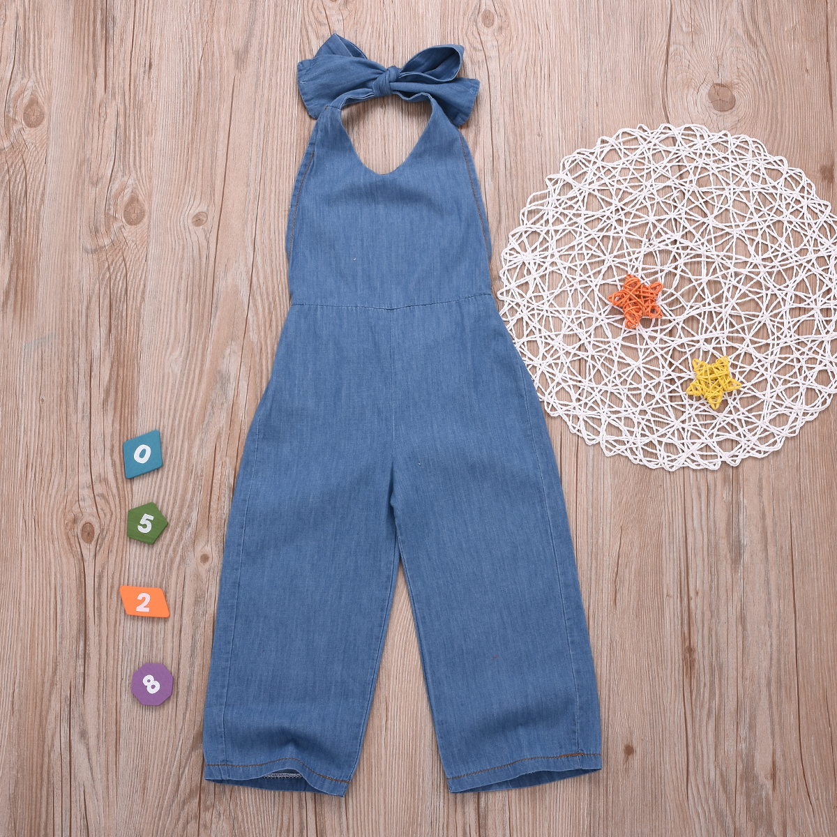 Купить со скидкой Baby / Toddler Backless Halter Denim Overalls