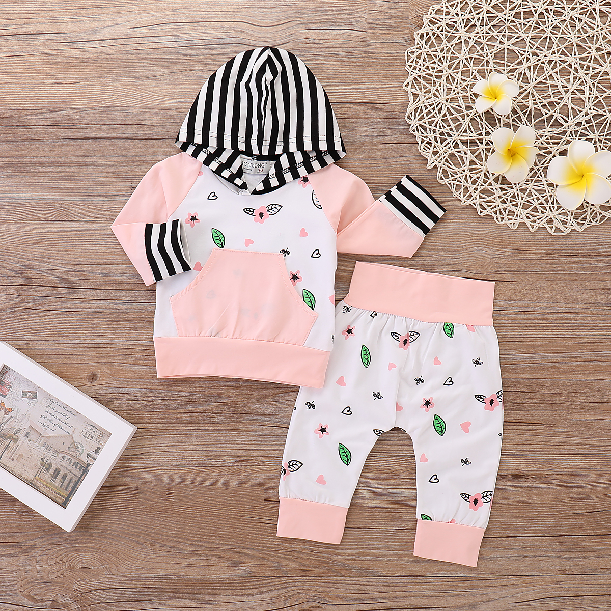 Fresh Color Blocked Hoodie and Pants Set for Baby