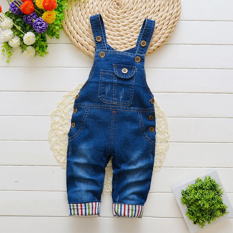 Купить со скидкой Baby / Toddler Trendy Stripped Denim Overalls
