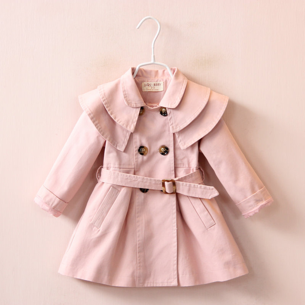 Купить со скидкой Stylish Solid Double-breasted Trench Coat for Toddler Girl and Girl