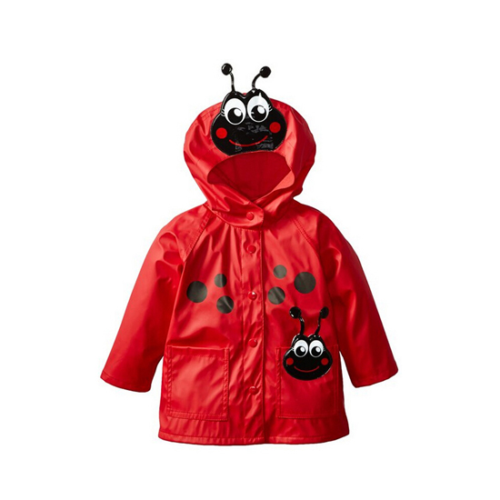 Купить со скидкой Cute Ladybug Applique Hooded Raincoat for Baby Girl
