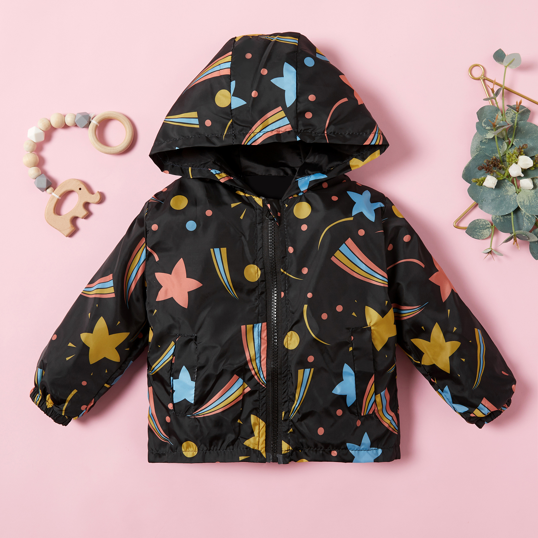 Baby / Toddler Pretty Stars and Rainbow Print Hooded Coat