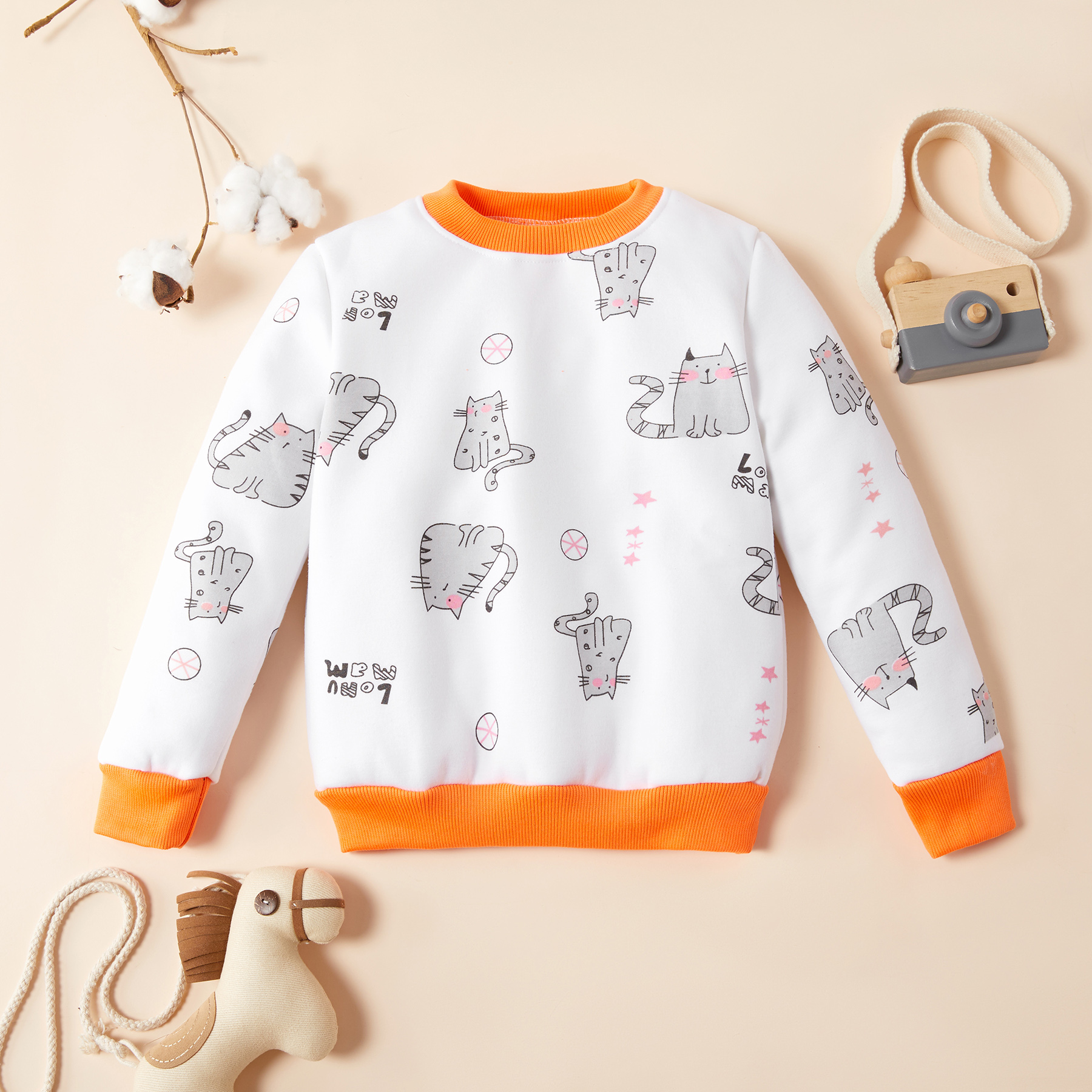 Baby / Toddler Adorable Cat Print Colorblock Pullover