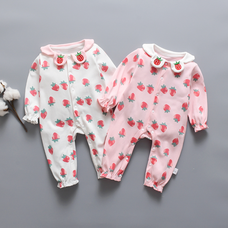 Baby Girl Doll Collar Strawberry Allover Cotton Style Long-sleeve Jumpsuit