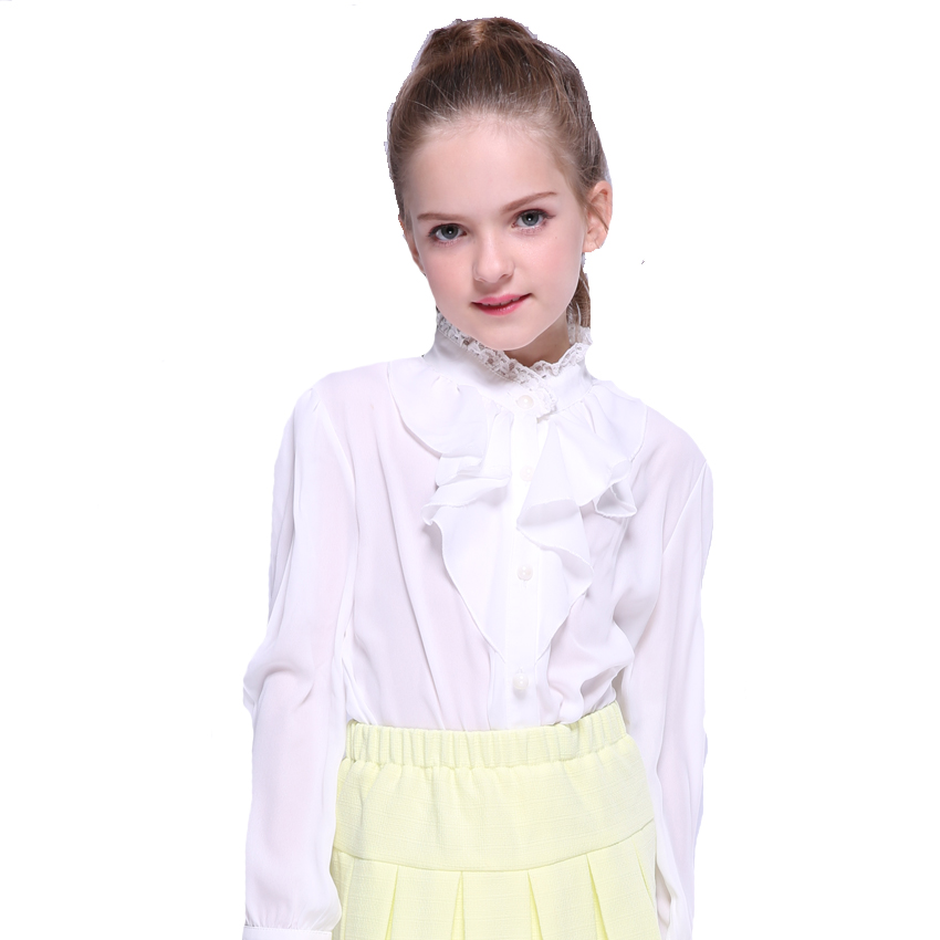 Купить со скидкой Sweet Solid Ruffled Long-sleeve Chiffon Shirt in White for Girl