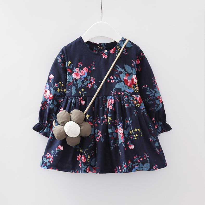Ziemlich Floral Ruffled Lange Ärmel Kleid mit Tasche für Mädchen