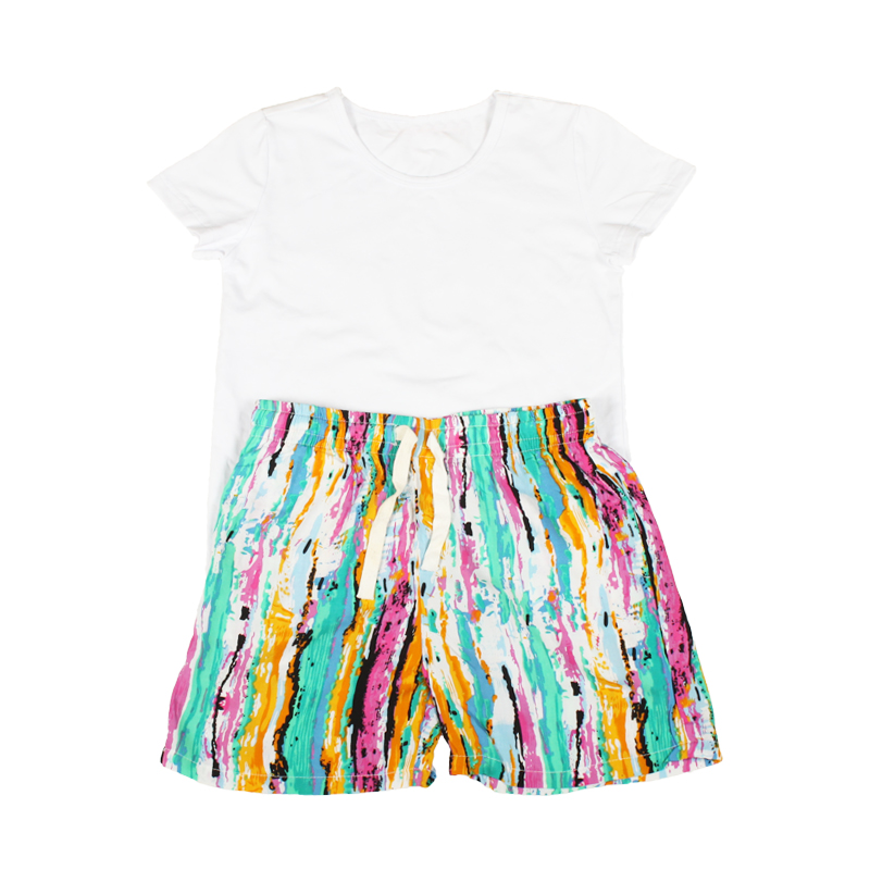 Купить со скидкой 2-piece Short Sleeves White Top and Striped Shorts Set for Daddy and Me