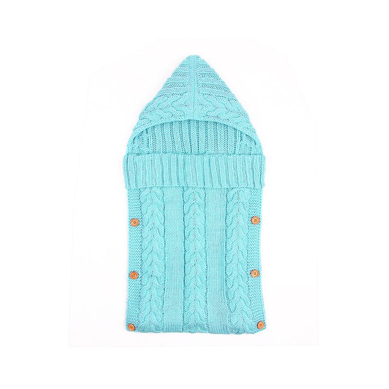 Купить со скидкой Trendy Solid Button Decor Hooded Knitted Sleeping Bag