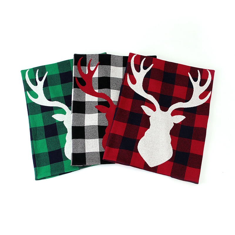 Antler Print Plaid Knitted Baby Blanket