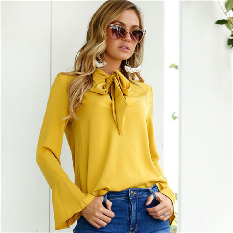 Купить со скидкой Trendy Solid Flare Sleeves Chiffon Top for Women