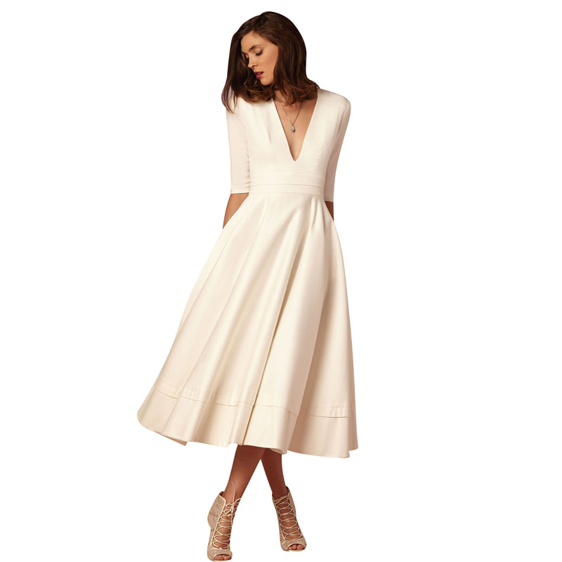 Купить со скидкой Elegant V-neck Solid Long-sleeve Dress in White for Women