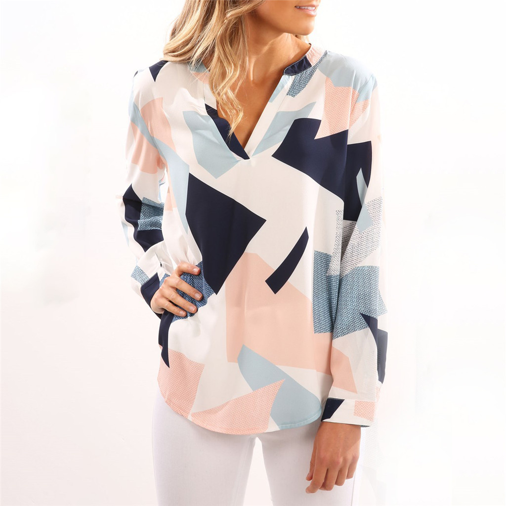Купить со скидкой Sassy Color Contrast Long-sleeve Blouse