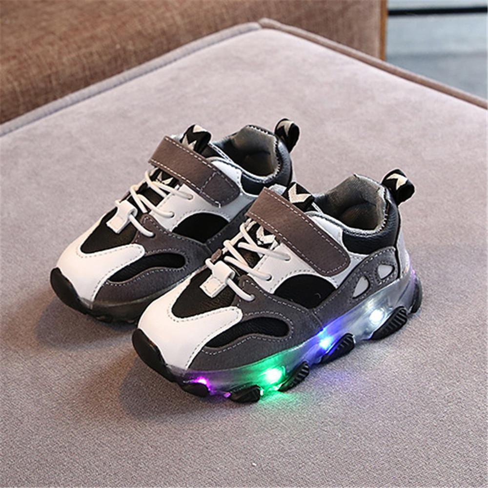 Toddler Boy / Girl Trendy Colorblock Velcro Led Shoes