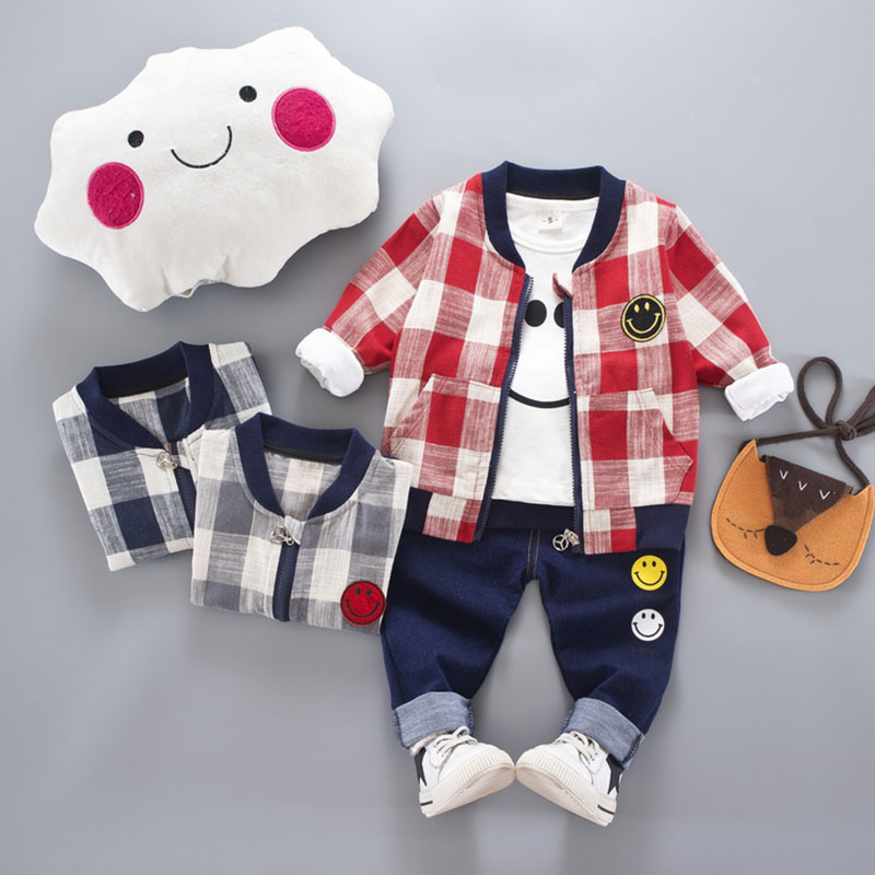 Купить со скидкой Baby and Toddler Boys 3-piece Smiling Face Tee Plaid Coat and Pants