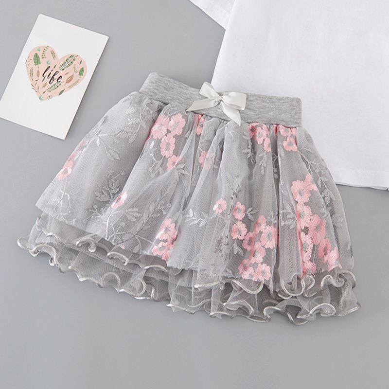 Купить со скидкой Sweet Flower leaf Embroidered Flounced Bow Decor Irregular Tulle Skirt for Girls