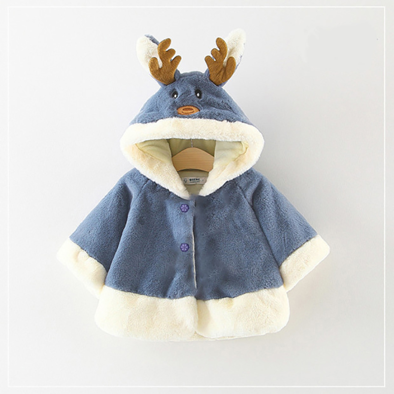 Baby / Toddler Christmas Antler Decor Long-sleeve Hooded Coat