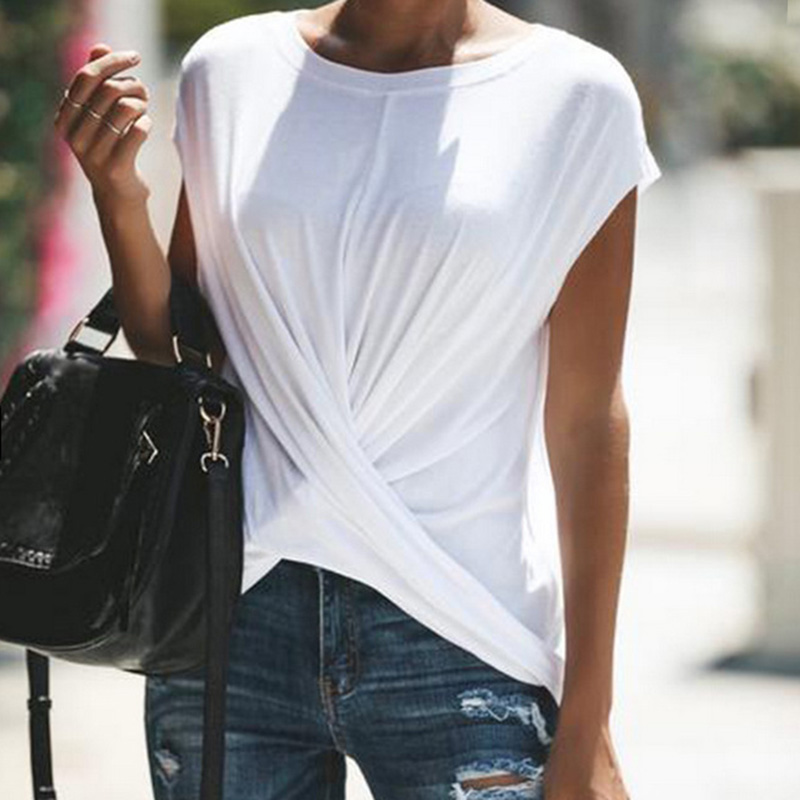 Casual Solid Cross Short-sleeve Top