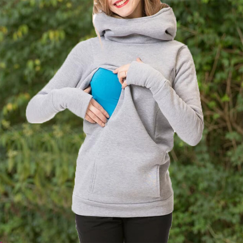 Фото #1: Casual Solid Long-sleeve Nursing Hoodie