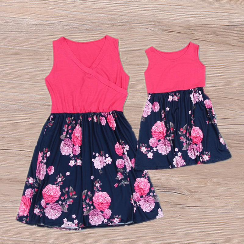 Купить со скидкой Beautiful Sleeveless Floral Matching Dresses