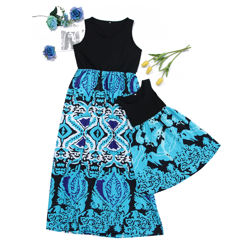 Mom and Me Trendy Sleeveless Boho Maxi Dress