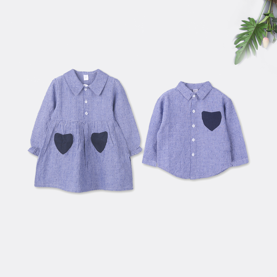 Купить со скидкой Sister and Brother Striped Heart Pocket Matching Shirt