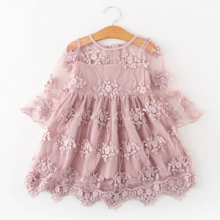 Купить со скидкой Fairy Embroidered Lace Flower Flare-sleeve Dress for Toddler Girl and Girl