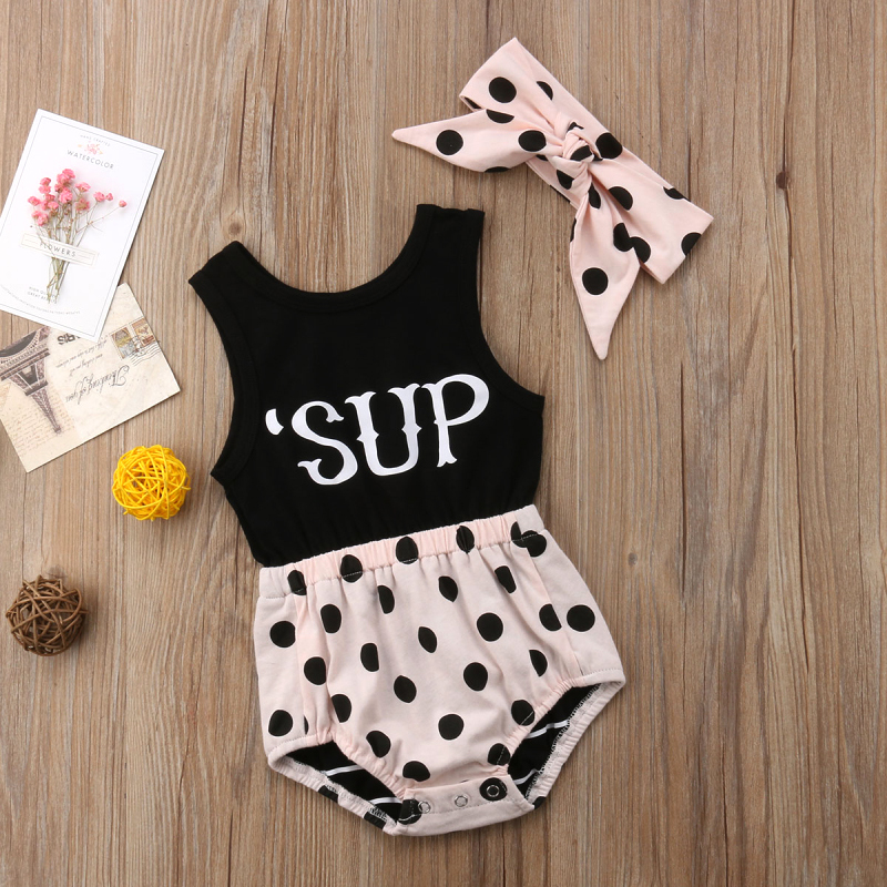 Sweet Polka Dots Sleeveless Bodysuit and Headband for Baby Girl