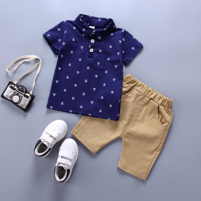 Tendance Ancrage Print Polo Shirt et Short pour tout-petit Garçon