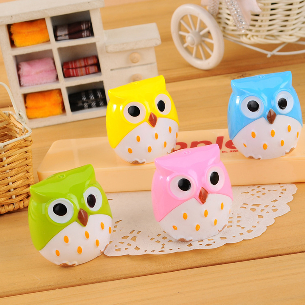 Image of 4 Pcs Adorable Owl Design Double Holes Pencil Sharpener