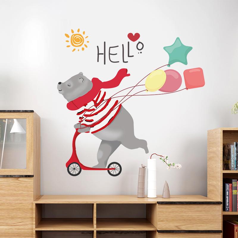 Cartoon Skateboard Tragen, Brief Drucken Wand Aufkleber