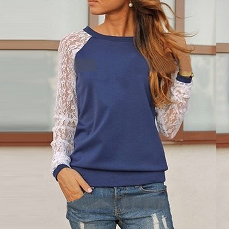 Casual Lace Design Long-sleeve T-shirt