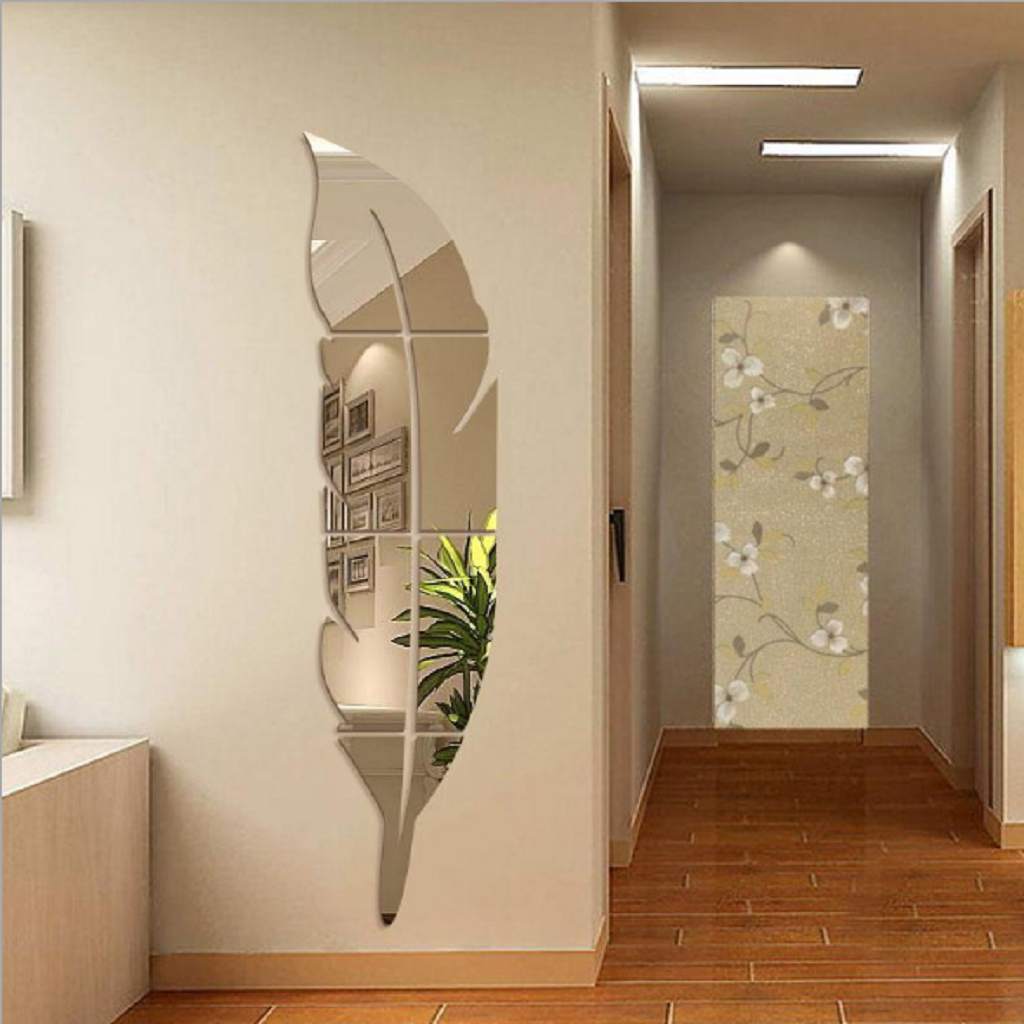 Купить со скидкой Pretty 3D Feather Design Wall Mirror