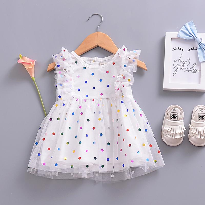 Doce de Lantejoulas Pontos de Malha Flutter-manga Vestido para Bebê e da Criança Menina