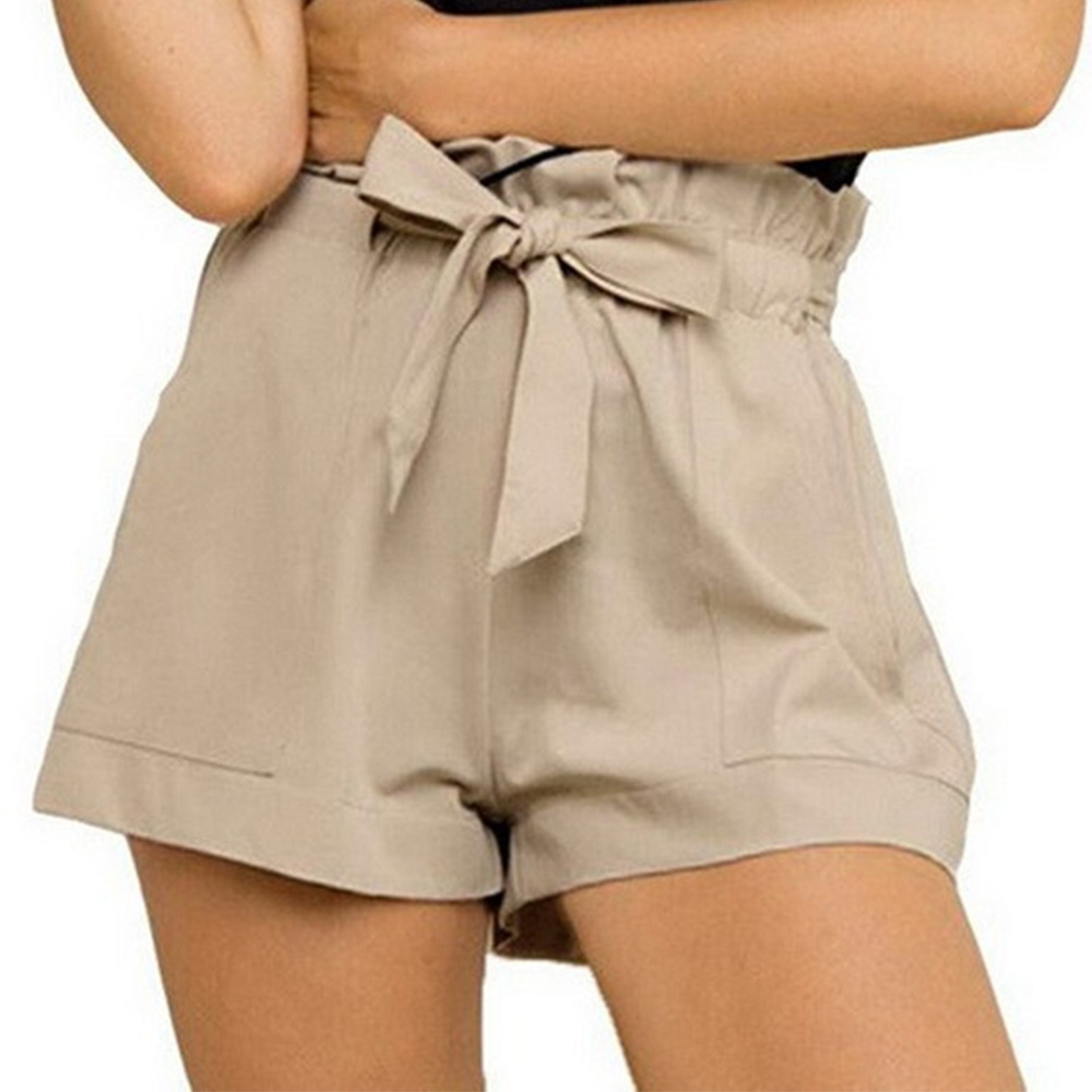 Купить со скидкой Causal Solid Ruffles Waist Shorts