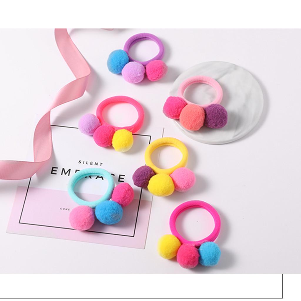 6-pièce Colorée de la Fourrure de la Balle élastique à Cheveux