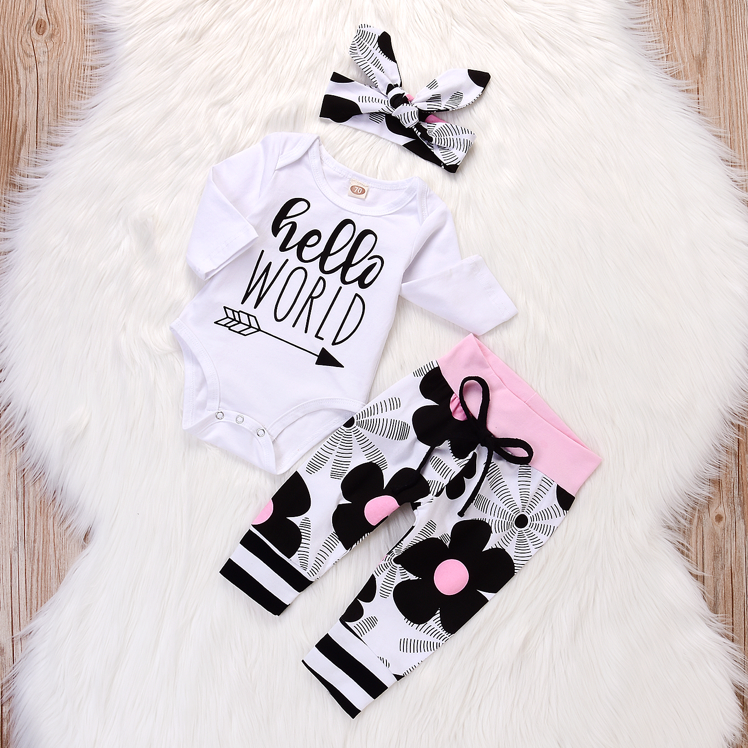 Купить со скидкой 3-piece Casual Letter Print Long-sleeve Bodysuit, Floral Pants and Headband  Set