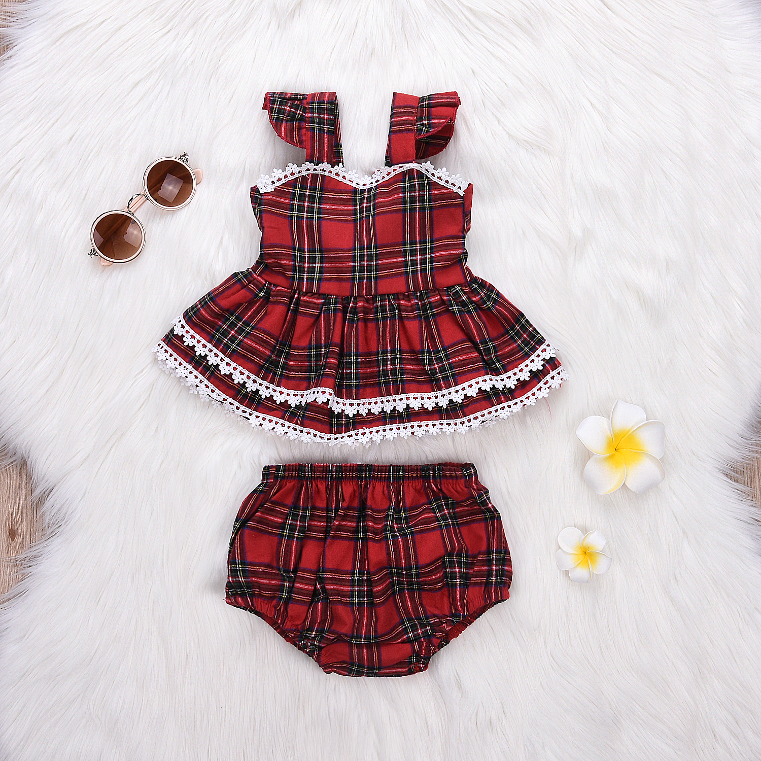 Купить со скидкой 2-piece Trendy Christmas Plaid Lace-trimmed Backless Dress and Shorts Set